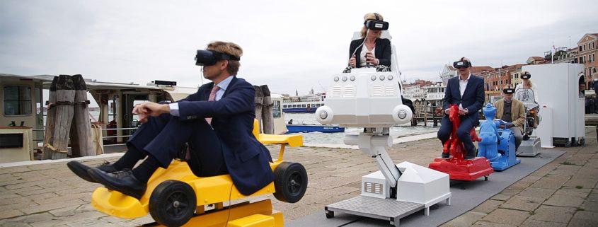 Minister van Onderwijs, Cultuur en Wetenschap Jet Bussemaker bij de lancering van The Fair Grounds tijdens de Biennale van Venetië, 2017